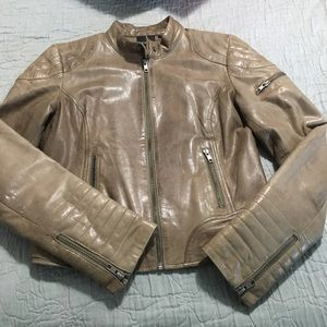 Trouve Genuine Leather Jacket Motorcycle Taupe